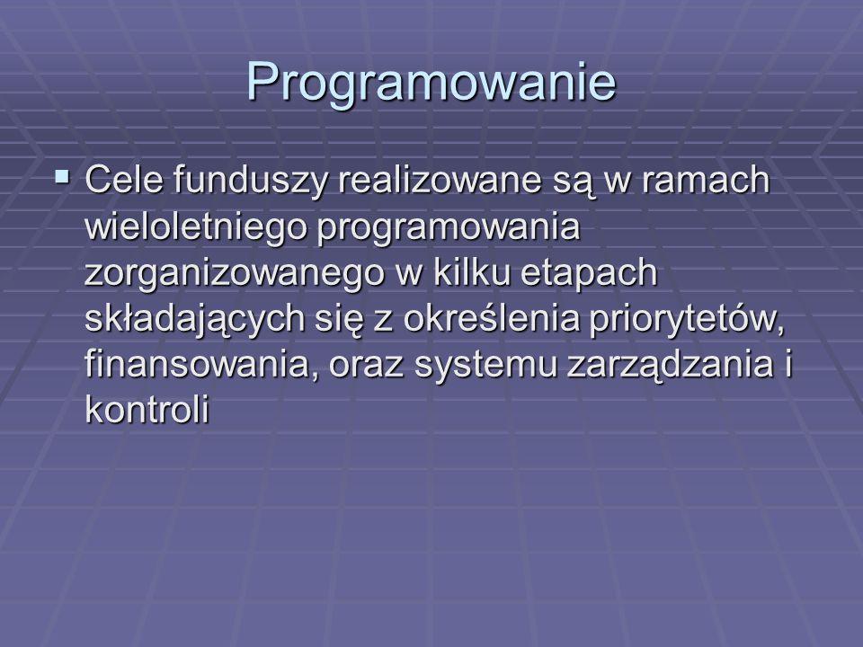 Programowanie Cele funduszy realizowane są w ramach wieloletniego programowania zorganizowanego w kilku etapach składających się z określenia prioryte