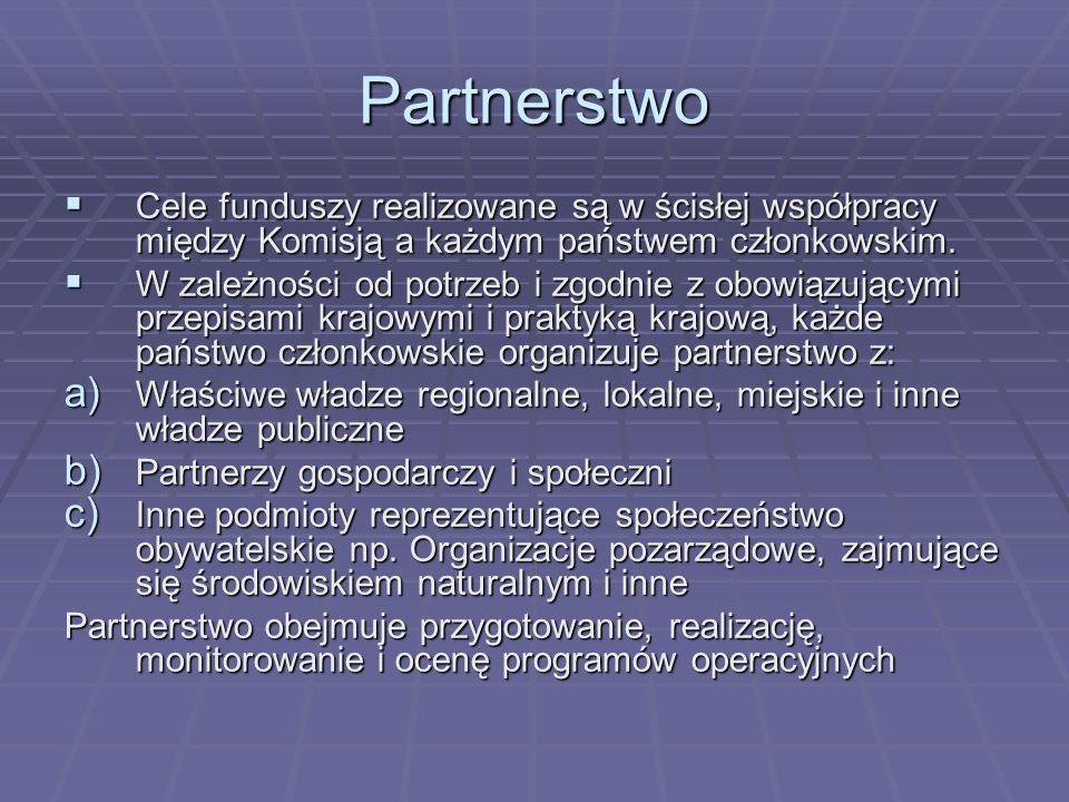 Partnerstwo Cele funduszy realizowane są w ścisłej współpracy między Komisją a każdym państwem członkowskim. Cele funduszy realizowane są w ścisłej ws