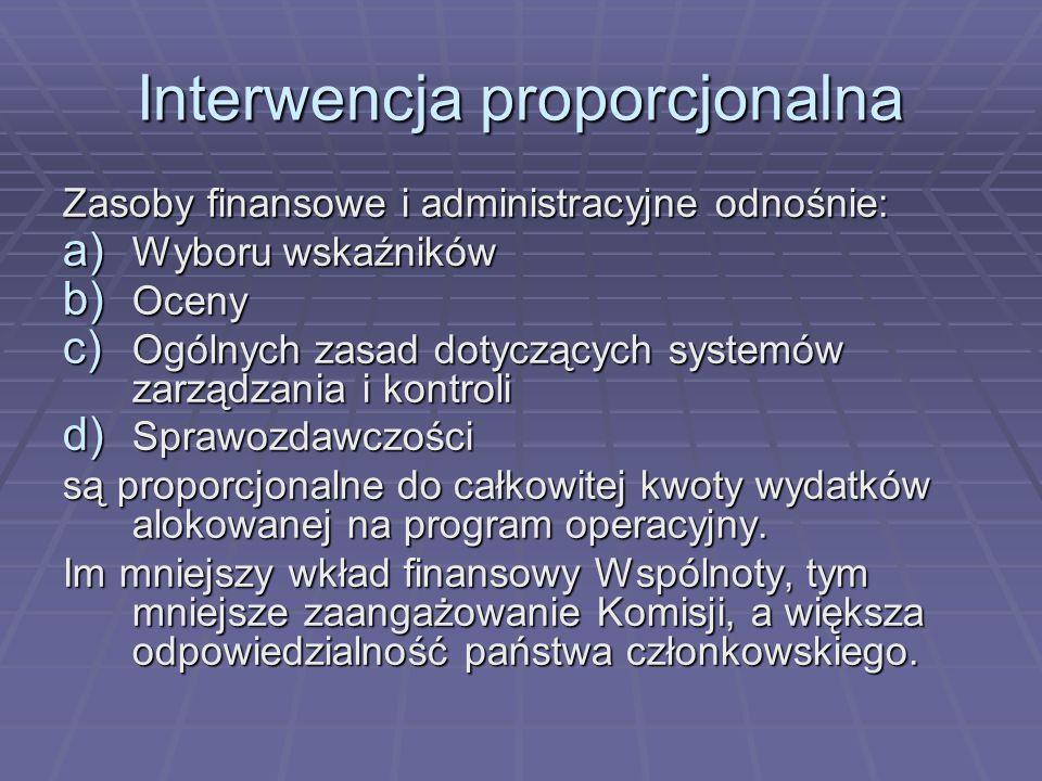 Interwencja proporcjonalna Zasoby finansowe i administracyjne odnośnie: a) Wyboru wskaźników b) Oceny c) Ogólnych zasad dotyczących systemów zarządzan