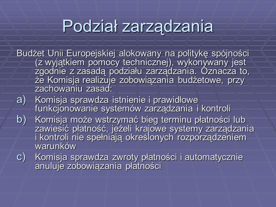 Podział zarządzania Budżet Unii Europejskiej alokowany na politykę spójności (z wyjątkiem pomocy technicznej), wykonywany jest zgodnie z zasadą podzia