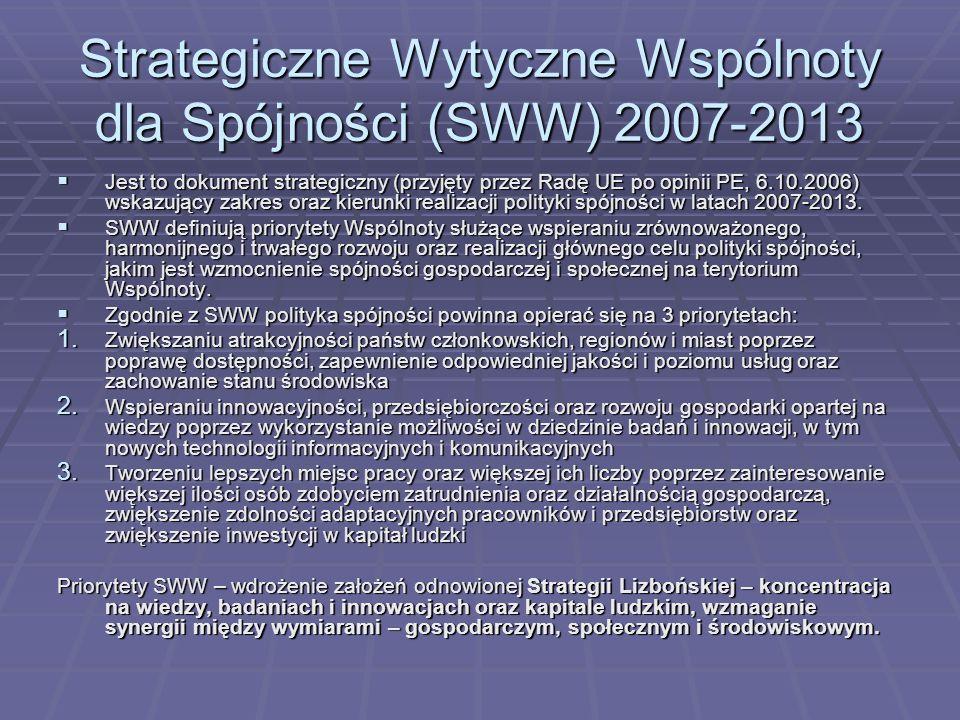 Strategiczne Wytyczne Wspólnoty dla Spójności (SWW) 2007-2013 Jest to dokument strategiczny (przyjęty przez Radę UE po opinii PE, 6.10.2006) wskazując