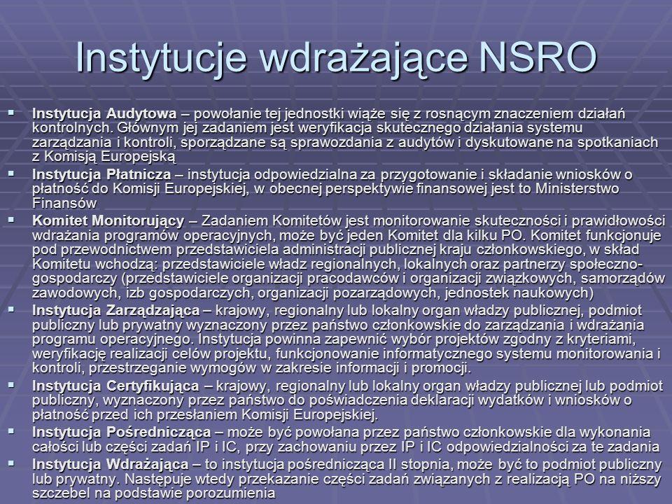 Instytucje wdrażające NSRO Instytucja Audytowa – powołanie tej jednostki wiąże się z rosnącym znaczeniem działań kontrolnych. Głównym jej zadaniem jes