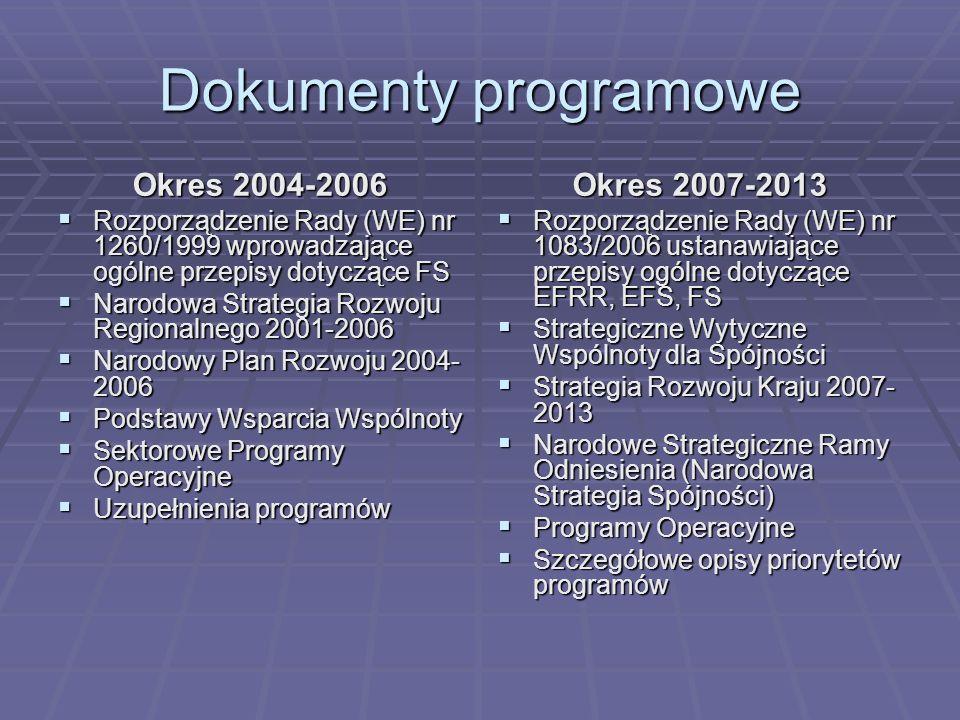Dokumenty programowe Okres 2004-2006 Rozporządzenie Rady (WE) nr 1260/1999 wprowadzające ogólne przepisy dotyczące FS Rozporządzenie Rady (WE) nr 1260