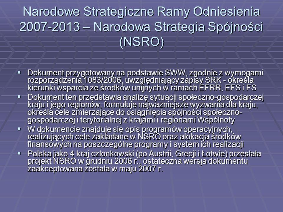 Narodowe Strategiczne Ramy Odniesienia 2007-2013 – Narodowa Strategia Spójności (NSRO) Dokument przygotowany na podstawie SWW, zgodnie z wymogami rozp