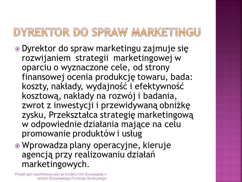 Dyrektor do spraw marketingu zajmuje się rozwijaniem strategii marketingowej w oparciu o wyznaczone cele, od strony finansowej ocenia produkcję towaru, bada: koszty, nakłady, wydajność i efektywność kosztową, nakłady na rozwój i badania, zwrot z inwestycji i przewidywaną obniżkę zysku, Przekształca strategię marketingową w odpowiednie działania mające na celu promowanie produktów i usług Wprowadza plany operacyjne, kieruje agencją przy realizowaniu działań marketingowych.