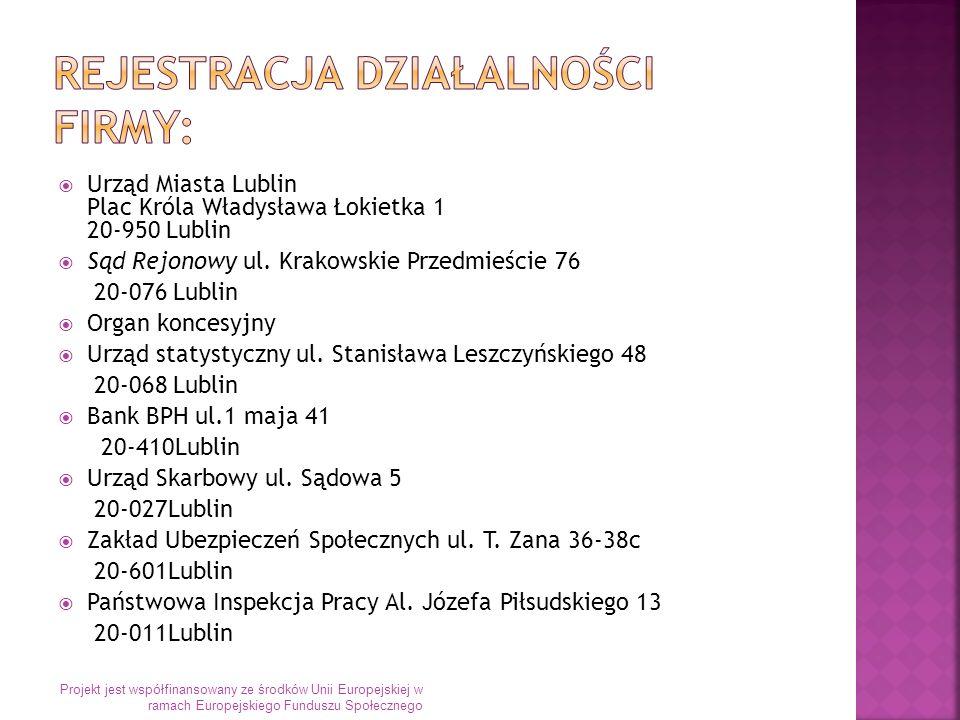 Urząd Miasta Lublin Plac Króla Władysława Łokietka 1 20-950 Lublin Sąd Rejonowy ul.