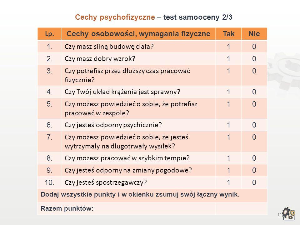 10 Cechy psychofizyczne Test samooceny 1/3 Decydując się na podjęcie pracy w zawodzie technika rybołówstwa morskiego, powinniśmy przede wszystkim wzią