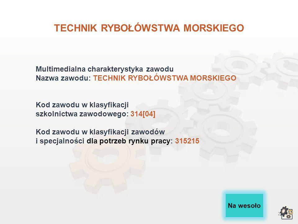 1 TECHNIK RYBOŁÓWSTWA MORSKIEGO wersja dla gimnazjum i szkół ponadgimnazjalnych