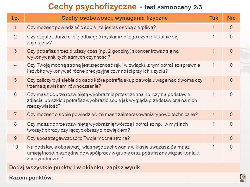 11 Cechy psychofizyczne Test samooceny 1/3 Decydując się na podjęcie pracy w zawodzie technik urządzeń audiowizualnych, powinniśmy przede wszystkim wz