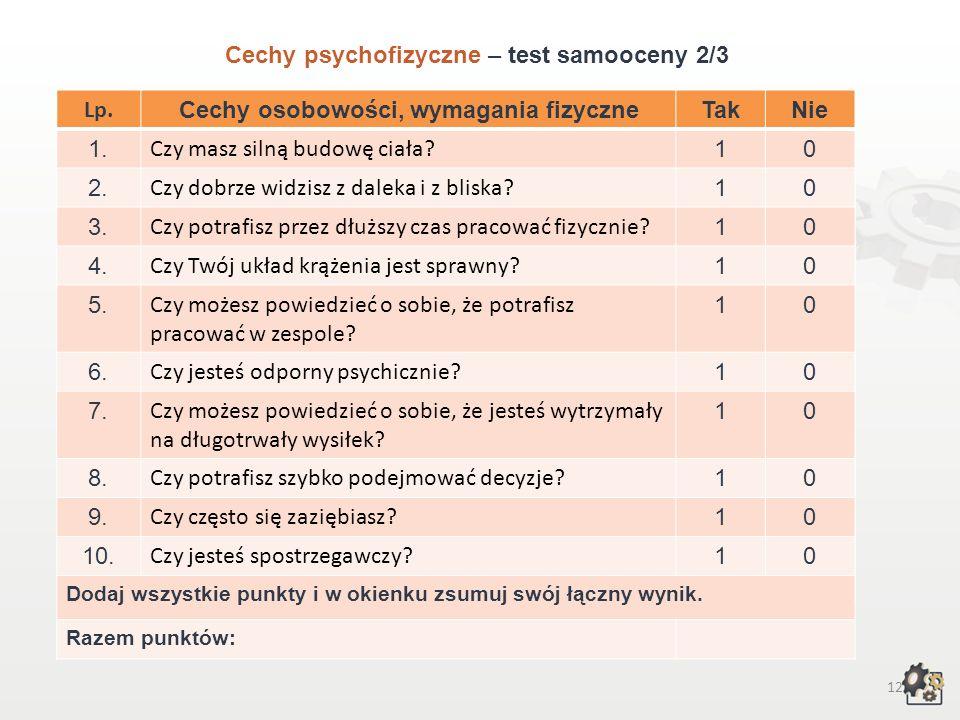 11 Cechy psychofizyczne Test samooceny 1/3 Decydując się na podjęcie pracy w zawodzie technika żeglugi śródlądowej, powinniśmy przede wszystkim wziąć
