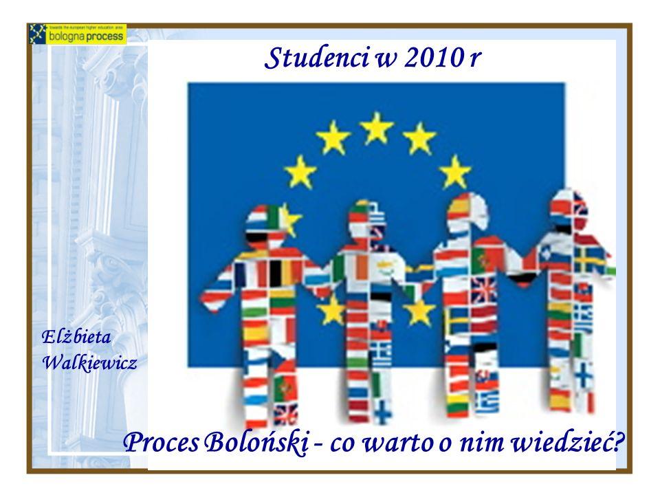 Studenci w 2010 r Proces Boloński - co warto o nim wiedzieć Elżbieta Walkiewicz