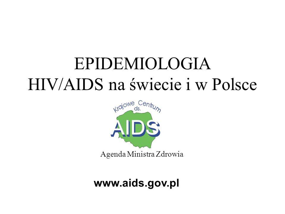 Szacunkowe dane epidemiologiczne HIV/AIDS na świecie (rok 2006) Liczba osób żyjących z HIV – 39,5 mln (34,1 – 47,1) dorośli – 37,2 mln (32,1 – 44,5) kobiety – 17,7 mln (15,1 – 20,9) dzieci (< 15.