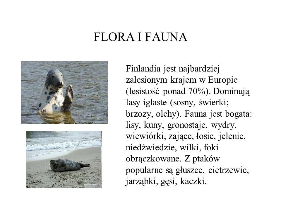 FLORA I FAUNA Finlandia jest najbardziej zalesionym krajem w Europie (lesistość ponad 70%). Dominują lasy iglaste (sosny, świerki; brzozy, olchy). Fau