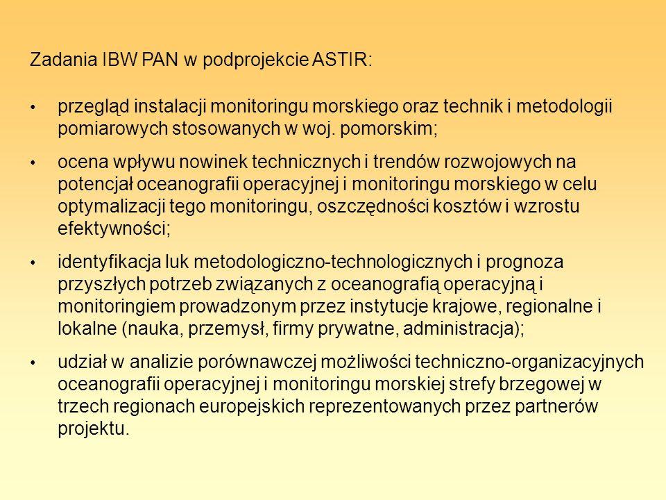 Zadania IBW PAN w podprojekcie ASTIR: przegląd instalacji monitoringu morskiego oraz technik i metodologii pomiarowych stosowanych w woj. pomorskim; o