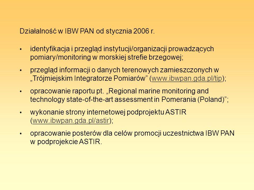 Działalność w IBW PAN od stycznia 2006 r. identyfikacja i przegląd instytucji/organizacji prowadzących pomiary/monitoring w morskiej strefie brzegowej