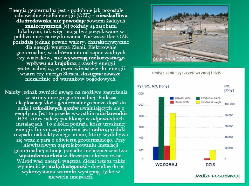 Energia geotermalna jest - podobnie jak pozostałe odnawialne źródła energii (OZE) - nieszkodliwa dla środowiska, nie powoduje bowiem żadnych zanieczys