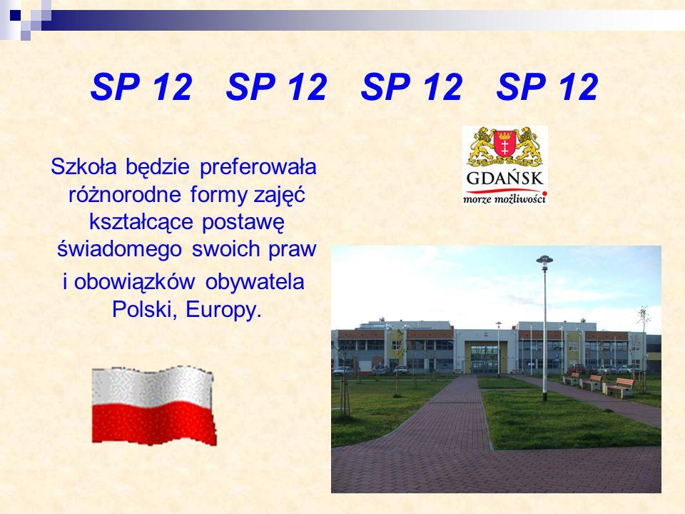 SP 12 SP 12 Szkoła będzie preferowała różnorodne formy zajęć kształcące postawę świadomego swoich praw i obowiązków obywatela Polski, Europy.