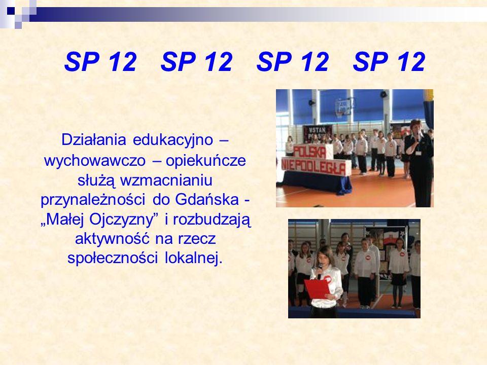 SP 12 SP 12 Działania edukacyjno – wychowawczo – opiekuńcze służą wzmacnianiu przynależności do Gdańska - Małej Ojczyzny i rozbudzają aktywność na rze
