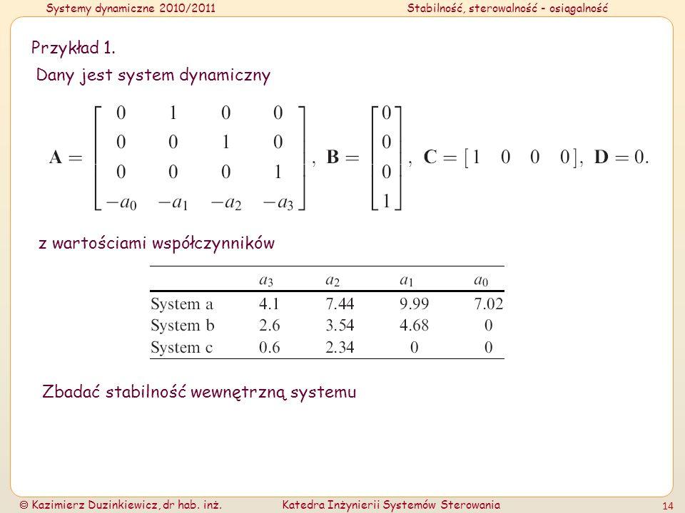 Systemy dynamiczne 2010/2011Stabilność, sterowalność - osiągalność Kazimierz Duzinkiewicz, dr hab. inż.Katedra Inżynierii Systemów Sterowania 14 Przyk