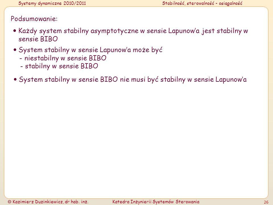 Systemy dynamiczne 2010/2011Stabilność, sterowalność - osiągalność Kazimierz Duzinkiewicz, dr hab. inż.Katedra Inżynierii Systemów Sterowania 26 Podsu