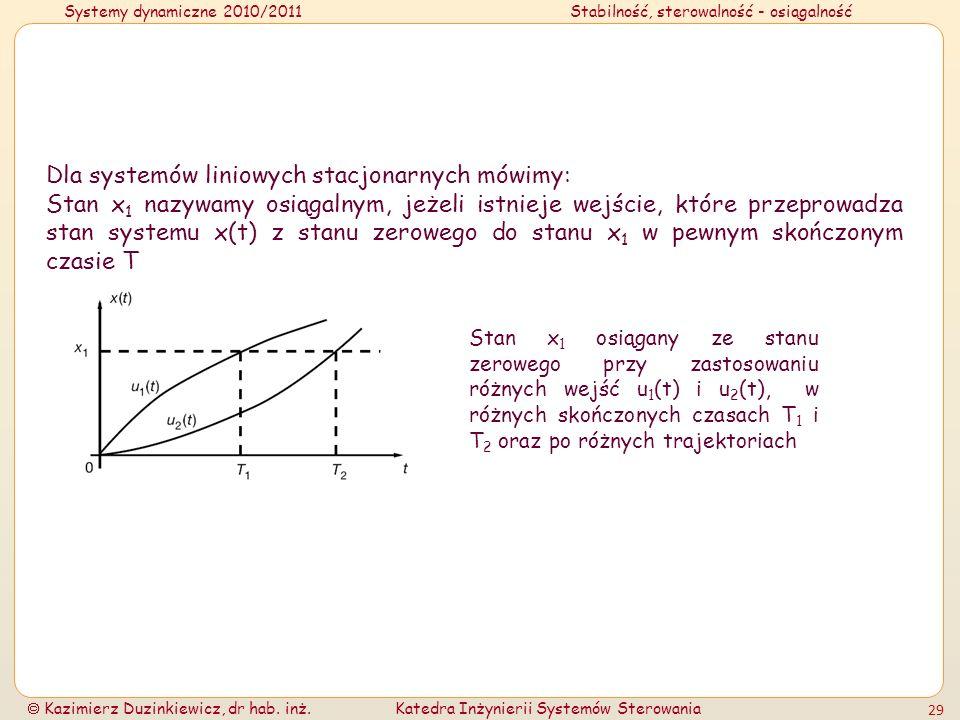 Systemy dynamiczne 2010/2011Stabilność, sterowalność - osiągalność Kazimierz Duzinkiewicz, dr hab. inż.Katedra Inżynierii Systemów Sterowania 29 Dla s