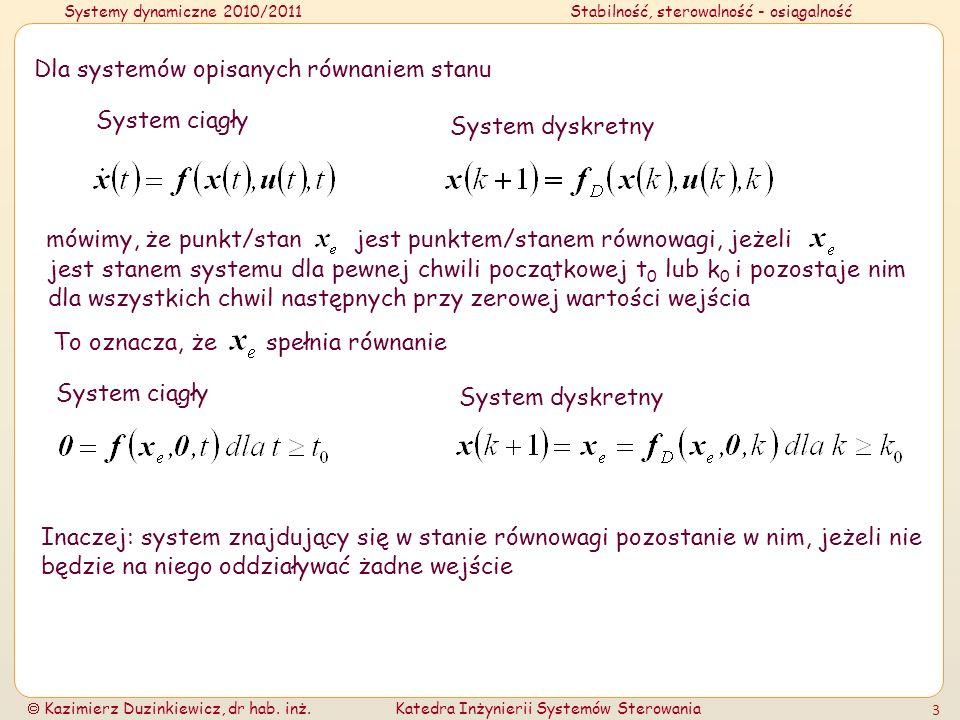 Systemy dynamiczne 2010/2011Stabilność, sterowalność - osiągalność Kazimierz Duzinkiewicz, dr hab. inż.Katedra Inżynierii Systemów Sterowania 3 Dla sy