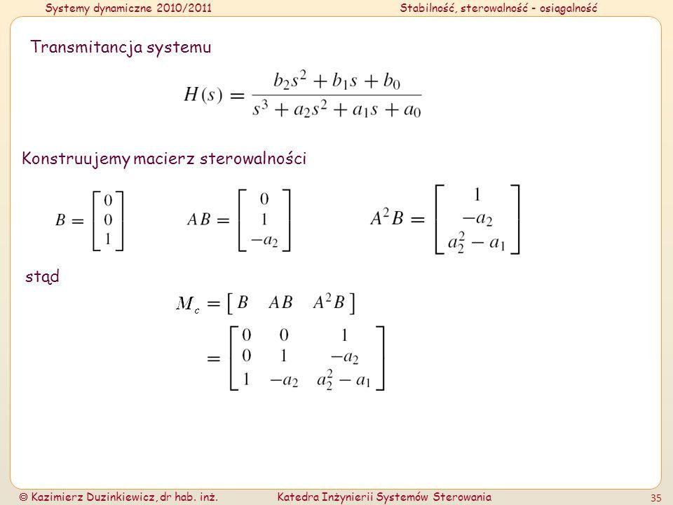 Systemy dynamiczne 2010/2011Stabilność, sterowalność - osiągalność Kazimierz Duzinkiewicz, dr hab. inż.Katedra Inżynierii Systemów Sterowania 35 Trans