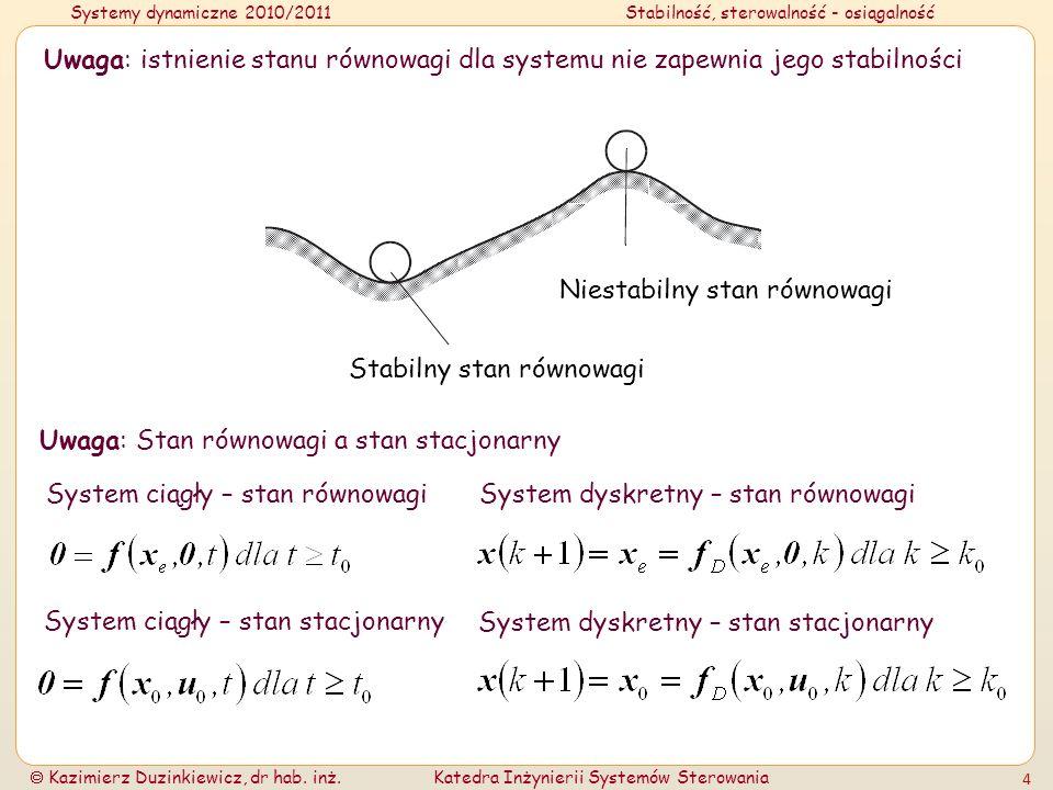 Systemy dynamiczne 2010/2011Stabilność, sterowalność - osiągalność Kazimierz Duzinkiewicz, dr hab. inż.Katedra Inżynierii Systemów Sterowania 4 Uwaga: