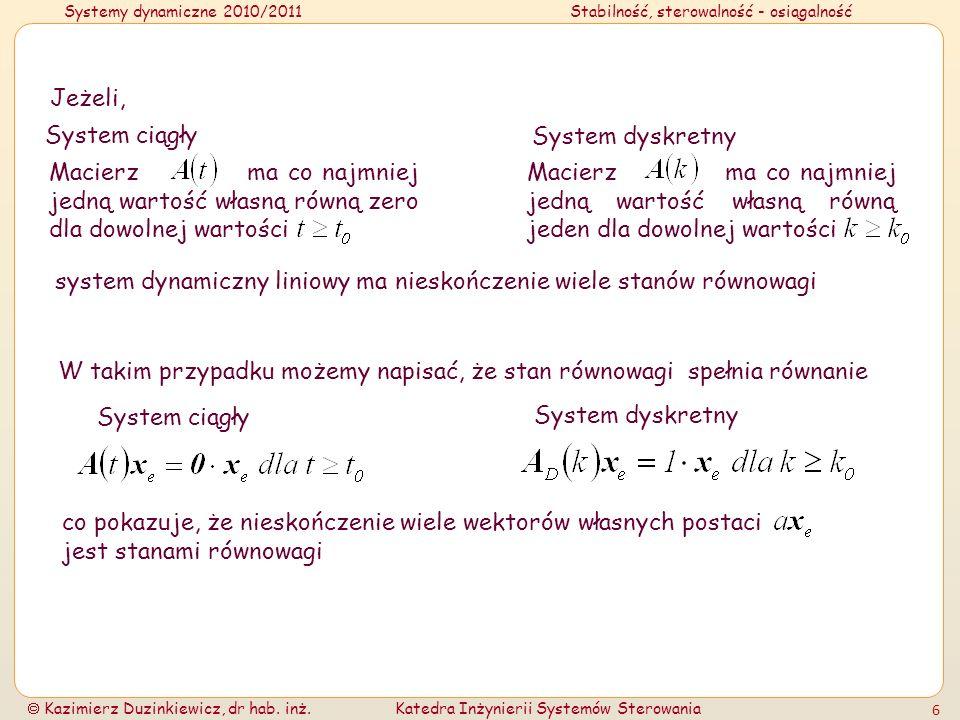 Systemy dynamiczne 2010/2011Stabilność, sterowalność - osiągalność Kazimierz Duzinkiewicz, dr hab. inż.Katedra Inżynierii Systemów Sterowania 6 Macier
