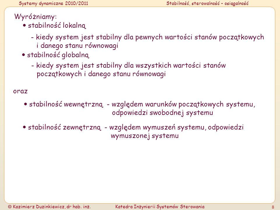 Systemy dynamiczne 2010/2011Stabilność, sterowalność - osiągalność Kazimierz Duzinkiewicz, dr hab. inż.Katedra Inżynierii Systemów Sterowania 8 Wyróżn