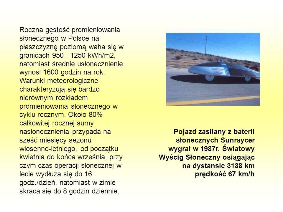 Roczna gęstość promieniowania słonecznego w Polsce na płaszczyznę poziomą waha się w granicach 950 - 1250 kWh/m2, natomiast średnie usłonecznienie wyn