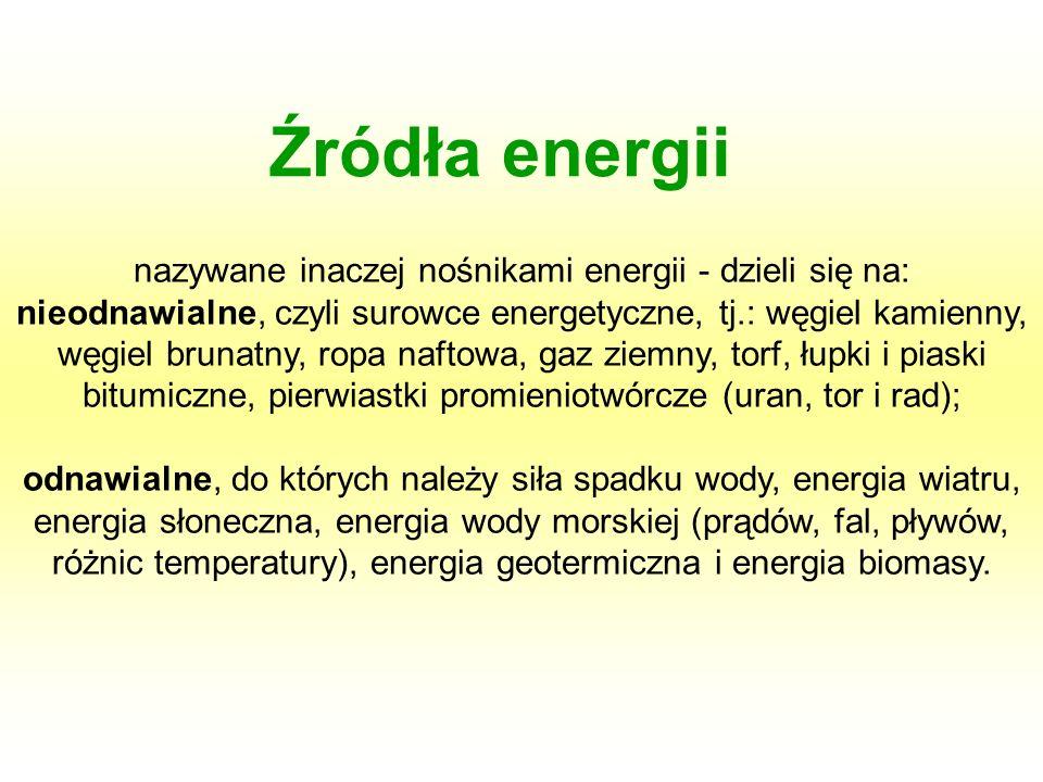nazywane inaczej nośnikami energii - dzieli się na: nieodnawialne, czyli surowce energetyczne, tj.: węgiel kamienny, węgiel brunatny, ropa naftowa, ga