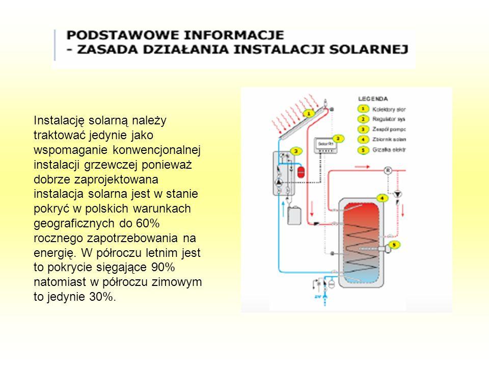 Instalację solarną należy traktować jedynie jako wspomaganie konwencjonalnej instalacji grzewczej ponieważ dobrze zaprojektowana instalacja solarna je