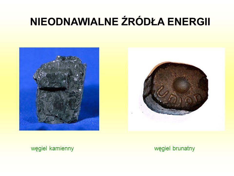 NIEODNAWIALNE ŹRÓDŁA ENERGII węgiel kamiennywęgiel brunatny