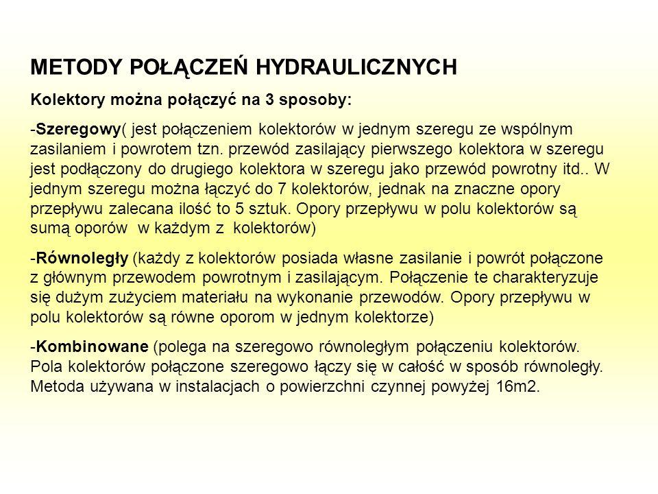 METODY POŁĄCZEŃ HYDRAULICZNYCH Kolektory można połączyć na 3 sposoby: -Szeregowy( jest połączeniem kolektorów w jednym szeregu ze wspólnym zasilaniem