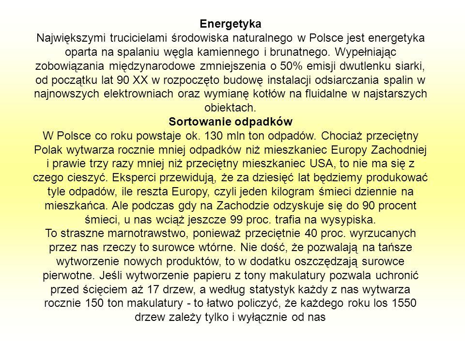 Energetyka Największymi trucicielami środowiska naturalnego w Polsce jest energetyka oparta na spalaniu węgla kamiennego i brunatnego. Wypełniając zob