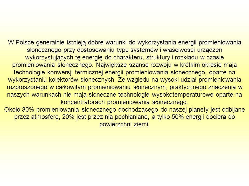 W Polsce generalnie istnieją dobre warunki do wykorzystania energii promieniowania słonecznego przy dostosowaniu typu systemów i właściwości urządzeń