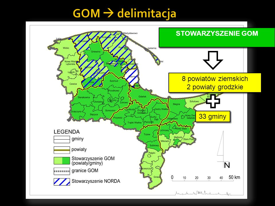 GOM delimitacja 58 gmin 8 powiatów ziemskich 3 powiaty grodzkie 8 powiatów ziemskich 3 powiaty grodzkie GDAŃSKI OBSZAR METROPOLITALNY GDAŃSKI OBSZAR M