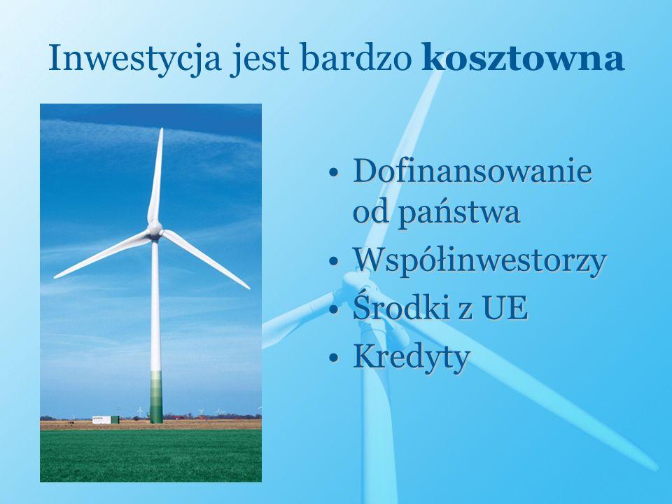Inwestycja jest bardzo kosztowna Dofinansowanie od państwaDofinansowanie od państwa WspółinwestorzyWspółinwestorzy Środki z UEŚrodki z UE KredytyKredy