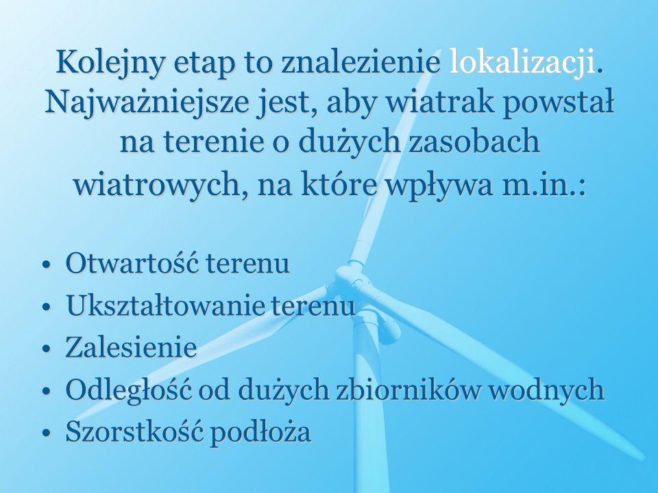 Kolejny etap to znalezienie lokalizacji. Najważniejsze jest, aby wiatrak powstał na terenie o dużych zasobach wiatrowych, na które wpływa m.in.: Otwar