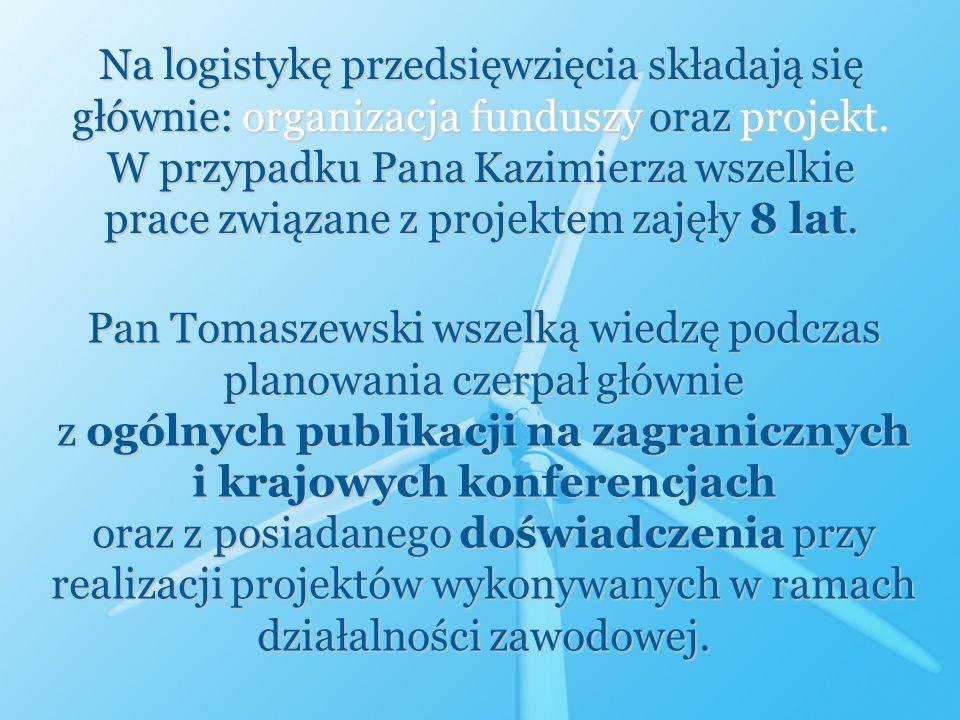 Na logistykę przedsięwzięcia składają się głównie: organizacja funduszy oraz projekt. W przypadku Pana Kazimierza wszelkie prace związane z projektem
