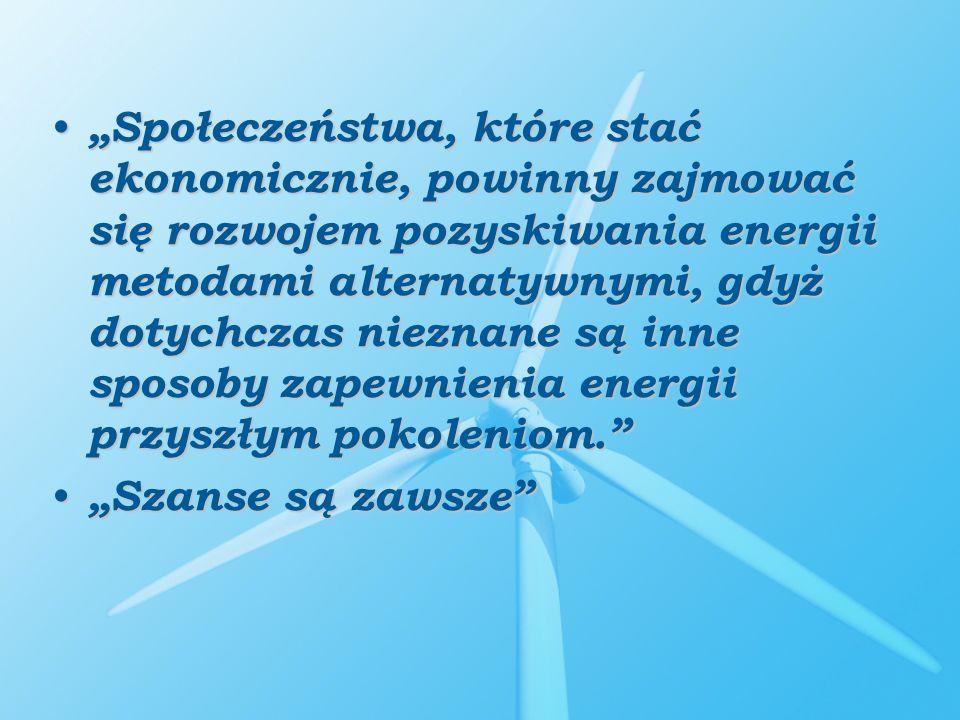 Społeczeństwa, które stać ekonomicznie, powinny zajmować się rozwojem pozyskiwania energii metodami alternatywnymi, gdyż dotychczas nieznane są inne s