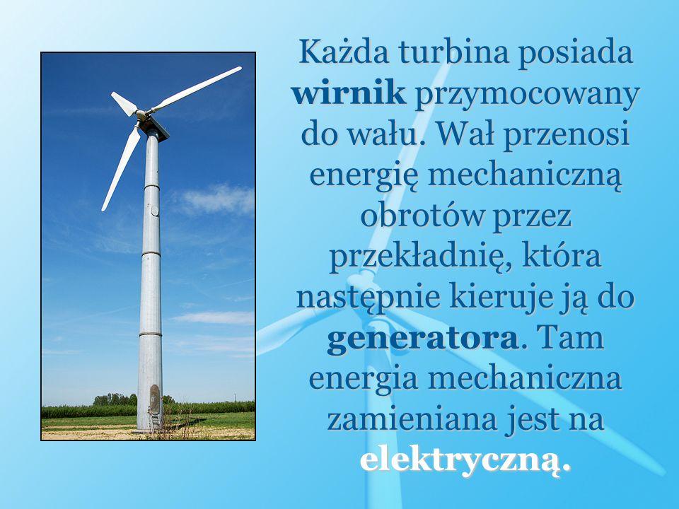 Każda turbina posiada wirnik przymocowany do wału. Wał przenosi energię mechaniczną obrotów przez przekładnię, która następnie kieruje ją do generator