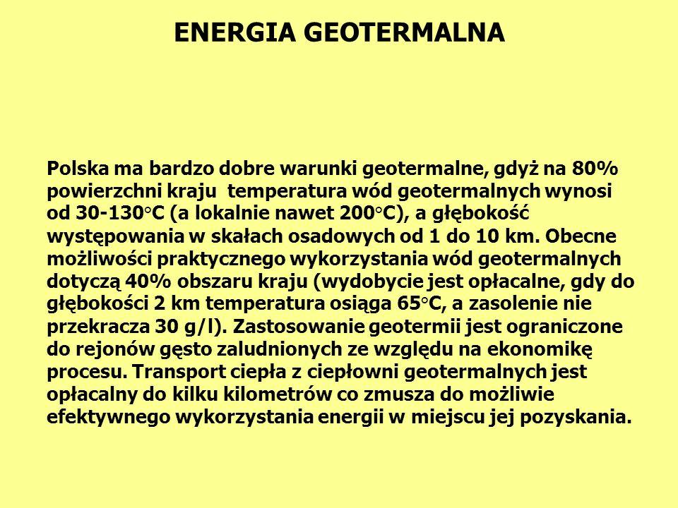 ENERGIA GEOTERMALNA Energia geotermalna to energia wydobytych na powierzchnię ziemi wód geotermalnych.