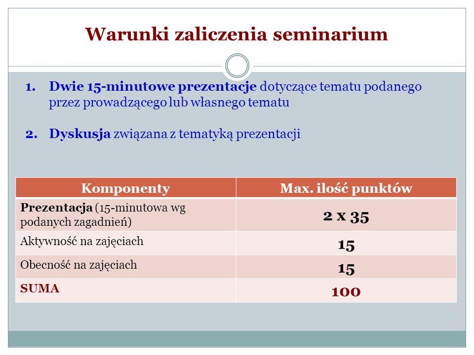 Warunki zaliczenia seminarium Ilość punktówOcena 91-100b.