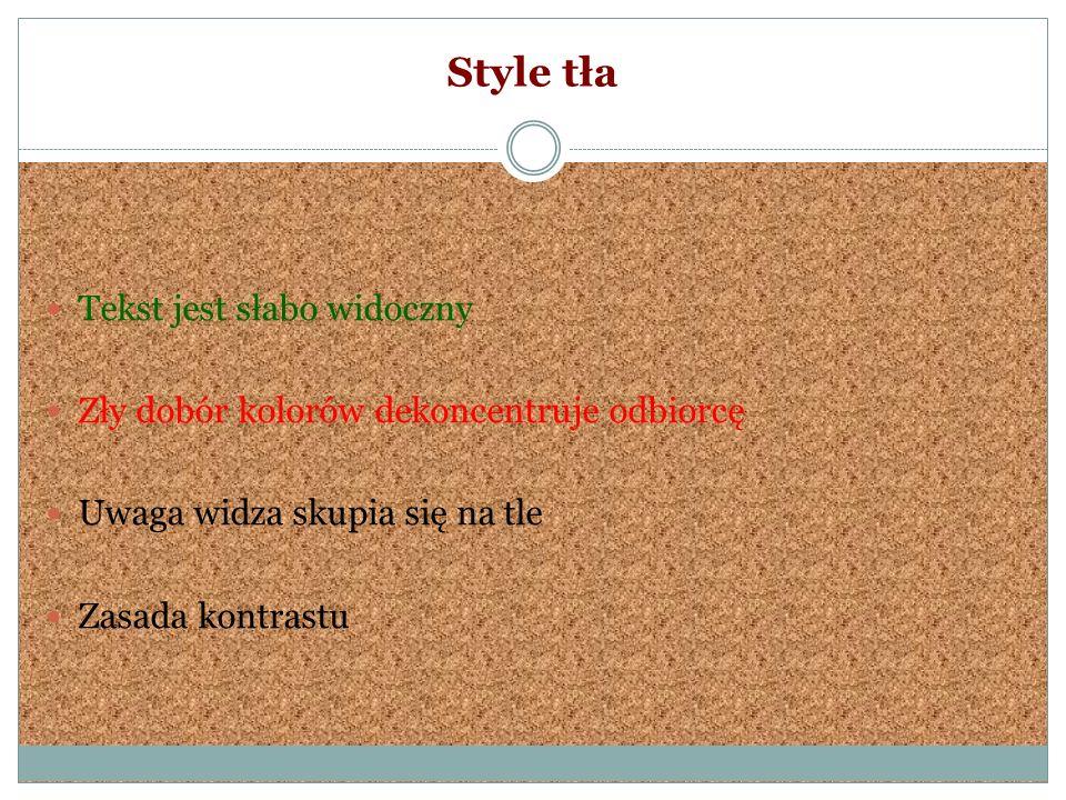 Style tła Tekst jest słabo widoczny Zły dobór kolorów dekoncentruje odbiorcę Uwaga widza skupia się na tle Zasada kontrastu