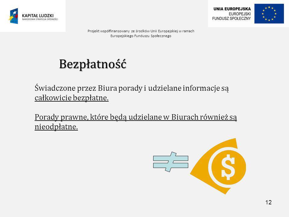 Projekt współfinansowany ze środków Unii Europejskiej w ramach Europejskiego Funduszu Społecznego 12 Bezpłatność Świadczone przez Biura porady i udzielane informacje są całkowicie bezpłatne.