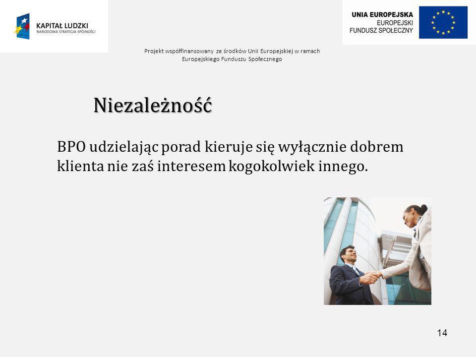 Projekt współfinansowany ze środków Unii Europejskiej w ramach Europejskiego Funduszu Społecznego 14 Niezależność BPO udzielając porad kieruje się wyłącznie dobrem klienta nie zaś interesem kogokolwiek innego.