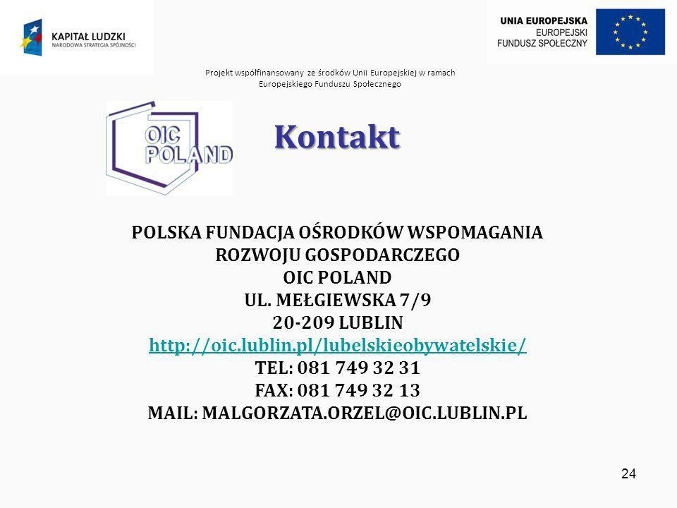 Projekt współfinansowany ze środków Unii Europejskiej w ramach Europejskiego Funduszu Społecznego 24 Kontakt POLSKA FUNDACJA OŚRODKÓW WSPOMAGANIA ROZWOJU GOSPODARCZEGO OIC POLAND UL.