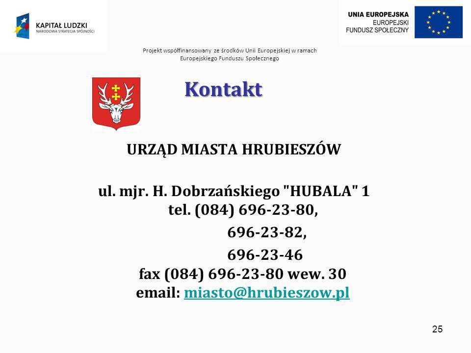 Projekt współfinansowany ze środków Unii Europejskiej w ramach Europejskiego Funduszu Społecznego 25 Kontakt URZĄD MIASTA HRUBIESZÓW ul.